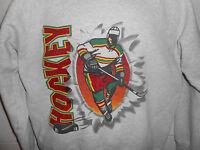 Vintage 80s 90s Gray Hockey Crewneck Sweatshirt Fits S/M