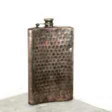 Old 1910's Antique Beautiful Hand Carved Design Brass POCKET FLASK Made In JAPAN