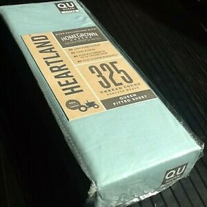Brand New AQUA Heartland 325 TC 100% HomeGrown Cotton Percale QUEEN Fitted Sheet