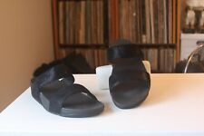 Fitflop Shimmy Black Suede 1 1/2 Inch Wedge Slides Sandals Women's US Size 9