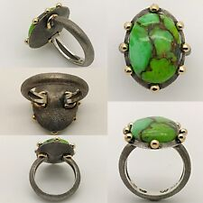Handmade Unique Modern Silver & Gold Green Mojave Matrix Turquoise Ring, Fashion