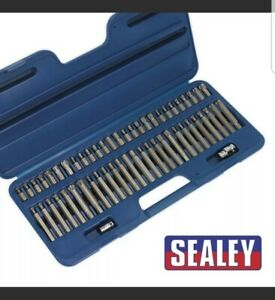 """Hex Star Spline Ribe Bit Set SEALEY 3/8"""" & 1/2"""" Square Drive With Adapters 56pc"""