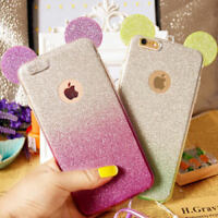 3D Luxury Crystal Mickey Mouse Ears Style Soft Clear TPU Case iPhone & Samsung