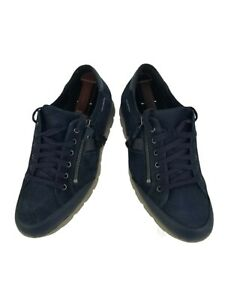 Mephisto Mobils Mens Kristof Sneakers Shoes Sz 8 US Leather Navy Blue MSRP $450