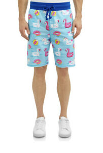 NEW Mens George French Terry Lounge Shorts Unicorn Flamingo Floaties M 32-34