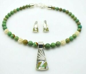 JAY KING Sterling Silver Green Brown Chrysoprase MOP Necklace Earring Set NWOT