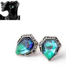 1 Pair Blue Vintage Triangle Rhinestone Earrings Acrylic Stud Earring For Women