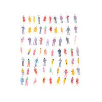 100Pcs Mini HO Scale 1:100 Painted Model People Mix Painted Model Figure WL