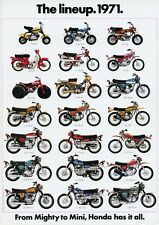 1971 HONDA LINE UP FULL LINE VINTAGE MOTORCYCLE AD POSTER PRINT 36x25 9 MIL