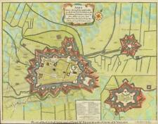 "c1750 FRANCE ""CITY OF AIRE AND FORT ST FRANCIS"" St Venant Antique Military Map"