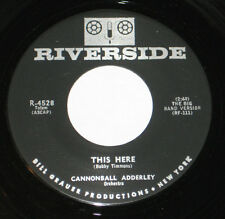 """Cannonball Adderley 7"""" 45 HEAR SOUL JAZZ This Here RIVERSIDE Blue Brass Groove"""