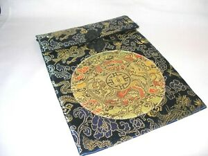 Artisan Made Navy Blue Silk Pouch with Gold Medallion