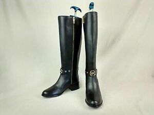Michael Kors Heather Black Leather Knee High Boots Women's Size 9 B US BS1