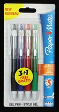 4 x Papermate Silk-Writer GEL Ballpoint Pens Black, Blue, Red, Green NEW