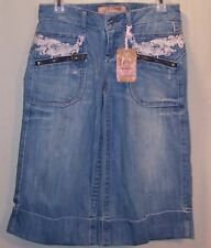 Candie's Distressed Blue Jeans Capris Shorts 3 Inseam 17 NWT