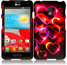 For LG Optimus F7 US780 Rubberized HARD Case Snap Phone Cover Colorful Hearts