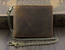 Mens Fashion Wallet with Chain Leather Brown Biker VINTAGE Coin Card Holder Gift