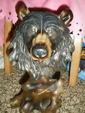"Faux Carved Black Bear Head  Wood Look Resin Statue 12""tall"