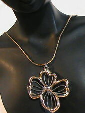 Gold tone Box Chain Necklace with Flower Pendant Avon