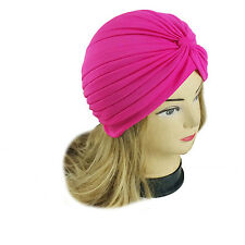 Lady Stretchy Turban Head Wrap Band Chemo Bandana Hijab Pleated Indian Cap Hat