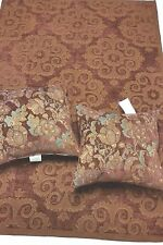 Tuscan Red and Copper Scroll Chenille Tapestry Throw and Handmade Set of Pillows