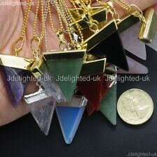Natural Gemstones Triangle Pointed Sliced Reiki Chakra 18K Silver Gold Necklace