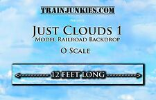 "TrainJunkies O Scale ""JUST CLOUDS"" Model Railroad Backdrop 144""x24"""