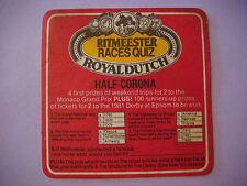 1980 Beer Bar Coaster ~*~ RITMEESTER Cigars Horse Racing Quiz ~ Royal Dutch Quiz