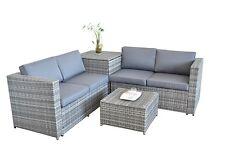 Gartenset Gartenmöbel Sitzgruppe Gartengarnitur Poly- Rattanmöbel Lounge Grau