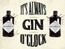 Always Gin O Clock Retro Metal Wall Plaque Art Vintage Advertising Sign man cave