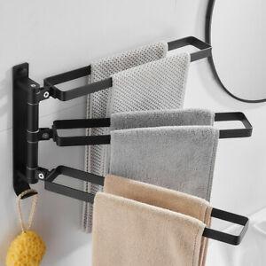 Active Towel Bars Aluminum Holder Shelves Wall Mount Bathroom Towel Ring Black