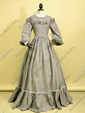 Victorian Dickens Tartan Prairie Gown Pioneer Woman Country Maiden Dress 260