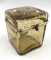 Superbe boite bijoux verre craquelé émaillé monture laiton 1900 Fin XIXe Legras