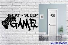 Boys Girls Bedroom Wall Sticker Art Eat Sleep Game Repeat Gaming Gamer Decal