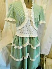 Wonderful White&Green Gingham Dress With Eyelet&Ruffles,V,G, Cond. Circa 1940