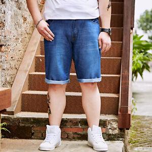 Herren Sommer Bequeme Jeans-Shorts Kurze Hose Stretch Jeansshorts Größe W28-W46