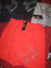 Men Under Armour shorts. Red gray black navy. Woven. Large logo