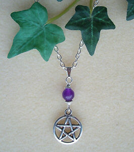 """Pentagram and Amethyst Bead Pendant 20"""" Chain Necklace - Wicca Pagan Witch"""