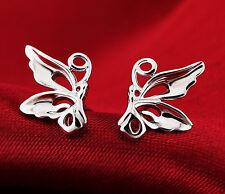 Super lindos pendientes de plata tono corte mariposa pendientes
