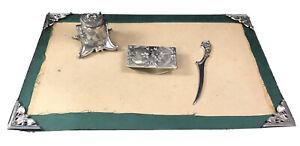 Jennings Brothers Desk Set Blotter Points Inkwell Letter Opener Art Nouveau