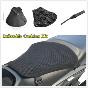 Motorcycle Air Seat Cushion Inflatable Shock Absorption Pad +Mesh Cover +Pump