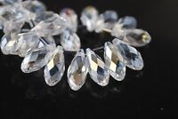 20pcs 16X8mm Teardrop Faceted Crystal Glass Pendant Loose Spacer Beads Clear AB
