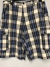 Beverly Hills Polo Club Cargo Shorts Mens 32  Plaid %100Cotton