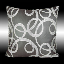 """ABSTRACT ELEGANT GREY SILVER POLYESTER DECO THROW PILLOW CASE CUSHION COVER 17"""""""