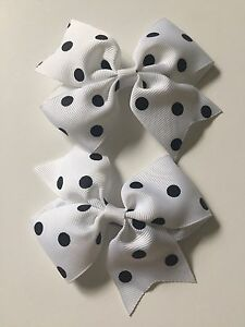 New! (2) Bows Custom Made Boutique Bows White Black Polkadot