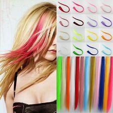 Bunte 2 Clip in Extensions Haarsträhnen Haarverlängerung Haarschmuck