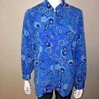 The Tog Shop Button Down Shirt Size 12 Womens Blouse Blue Floral Top Long Sleeve