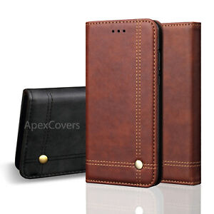 Vintage Real Leather Wallet Flip Case For Samsung Galaxy S20 FE,S10,S9,S8 Plus
