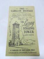 1963 The Luray Singing Tower Vintage Virginia Carillion Recitals Brochure Gettys