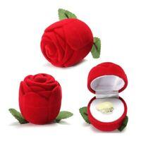 1 x Boite Rose Rouge Bague Ecrin Bijoux Fleur Alliance Mariage Cadeau Velours